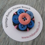 Milomade Button Flower Brooch on sale at Concrete Wardrobe in Edinburgh