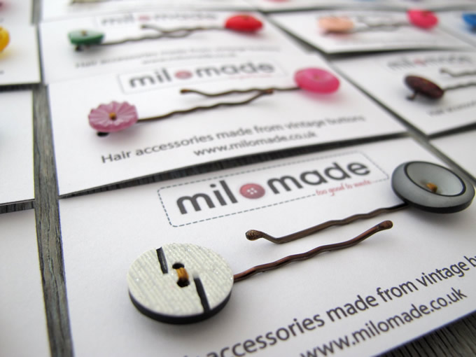 Milomade Hair Clips made with vintage buttons