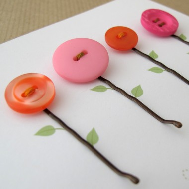 Button Hairclip Notecards - Mixed Vintage