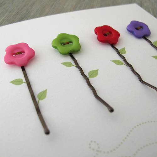 Button Hairclip Notecards - Flowers