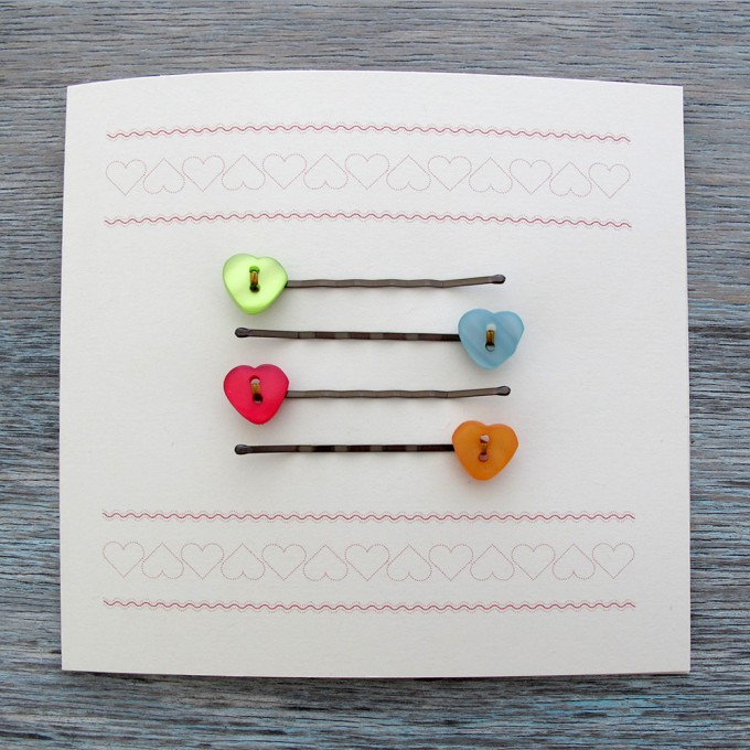 Button Hair Clip Notecard Gift Sets - Love Hearts