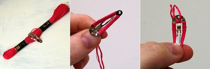 Embroidery Thread Hair Clip Tutorial