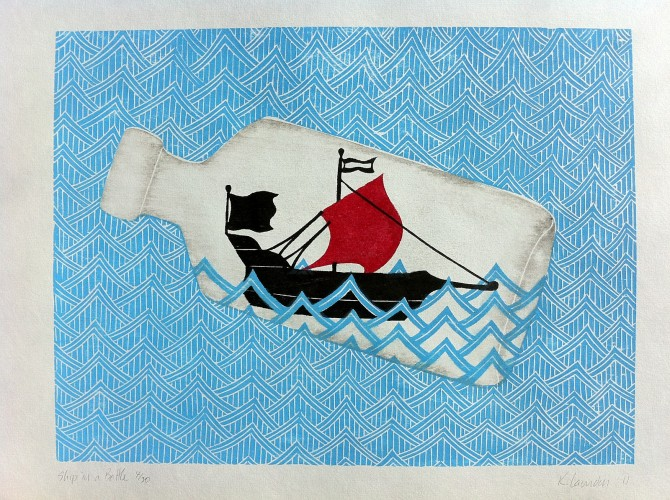 Ship In Bottle - A woodcut print by Kate Loundon