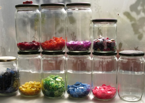 Coloured Buttons in Jars