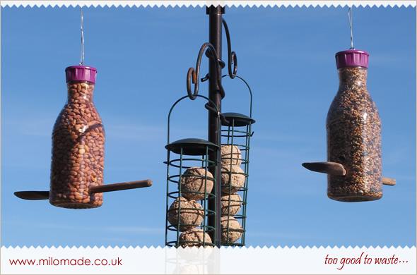 Plastic Bottle Bird Feeder Tutorial from Milomade