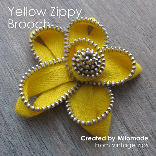 Theme Thursday - Motherly Love - Yellow Zippy Brooch