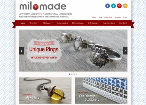 Milomade website redesign - changing the focus of the site to be an online shop