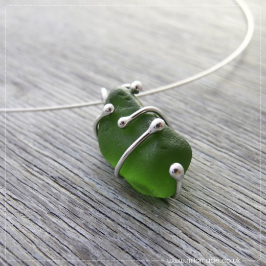 Commission - Green Sea Glass Pendant