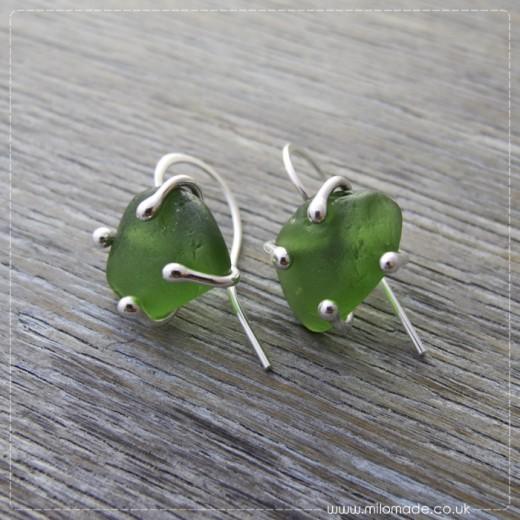 Commission - Green Sea Glass Drop Earrings