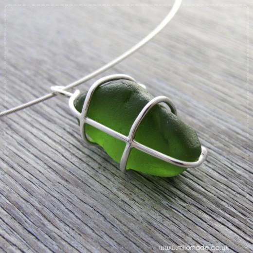 Commission - Green Sea Glass Pendant