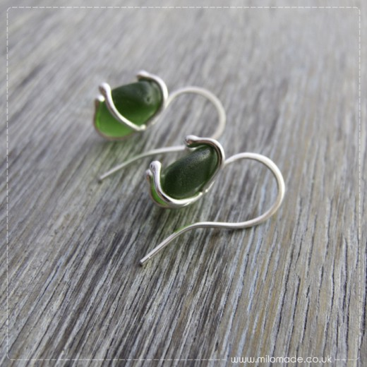 Commission - Green Sea Glass Drop Earrings