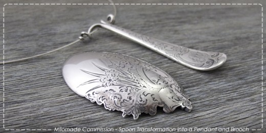 Commission - Spoon transformed into a pendant and brooch