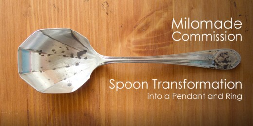 Commission - Spoon transformation into a pendant and ring