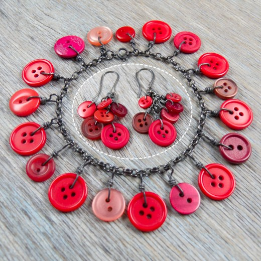 Cluster Button Bracelet and matching earrings - Red