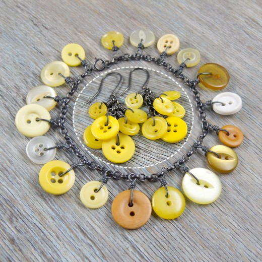 Cluster Button Bracelet and matching earrings - Yellow