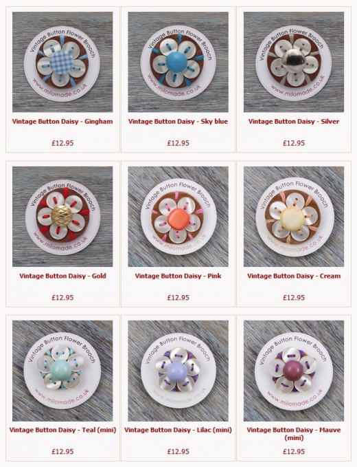 Milomade Vintage Button Daisy Brooches