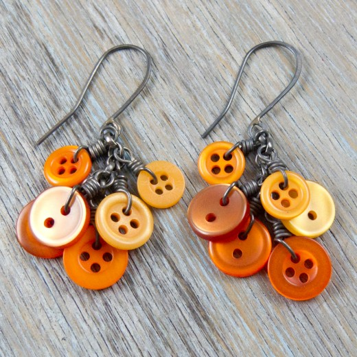 Gifts For Her - Orange Button Cluster Earrings