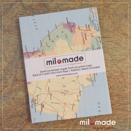 Milomade Envelopes made from Vintage Maps