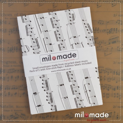 Milomade Envelopes made from Vintage Music