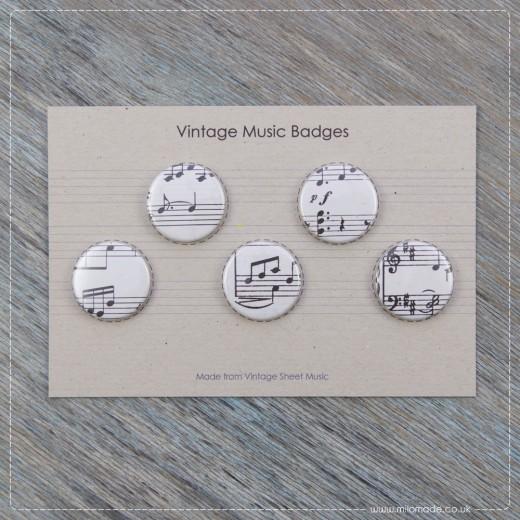 Milomade Badges - Pack of 5 - Vintage Music