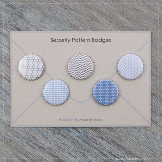 Milomade Badges - Pack of 5 - Envelope Security Patterns