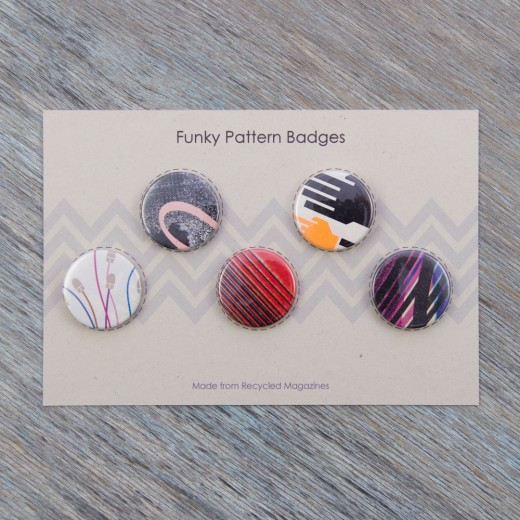 Milomade Badges - Pack of 5 - Funky Magazine Patterns