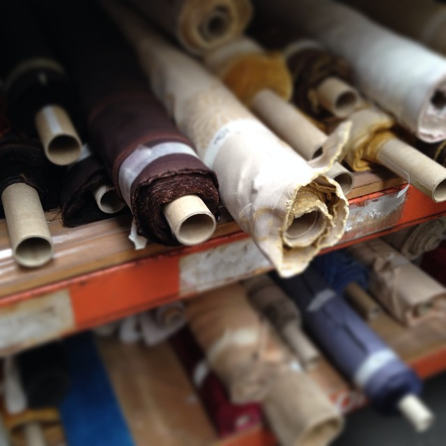Rolls of fabric at the Halley Stevenson factory sale