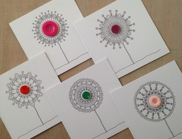 Button Blossoms - A new greetings card range from Milomade