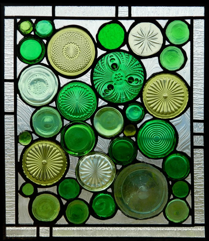 Stained Glass Panel made from recycled bottles