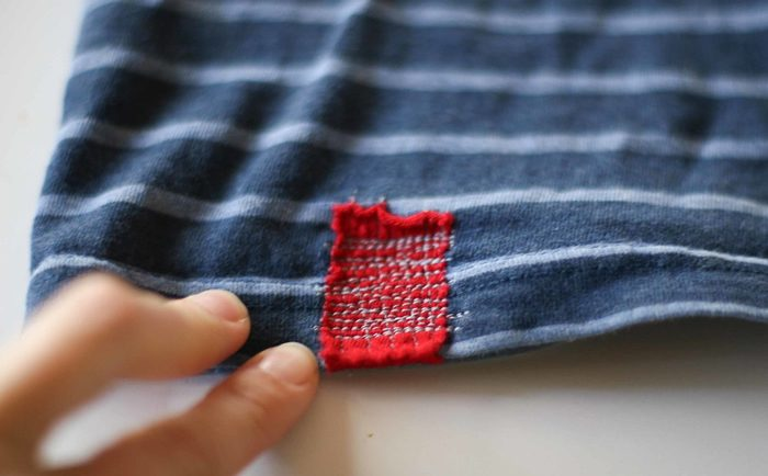 Examples of visible mending