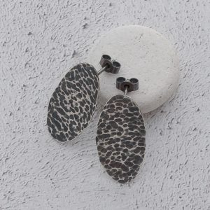 Milomade Jewellery - Echoes Collection - Ripple Studs - Handcrafted from Recycled Sterling Silver Teaspoons