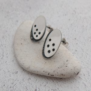 Milomade Jewellery - Echoes Collection - Seafoam/Sand Studs - Handcrafted form Recycled Sterling Silver Teaspoons