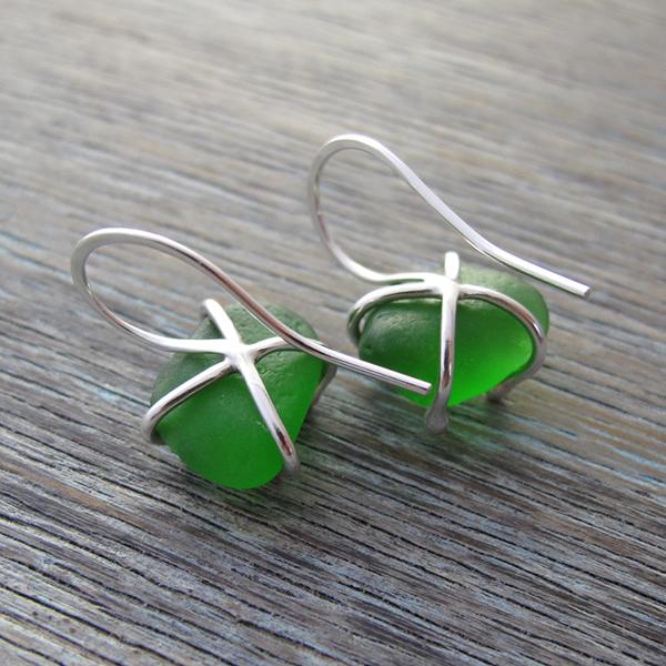 Jewellery Comission - Green Sea Glass Earrings