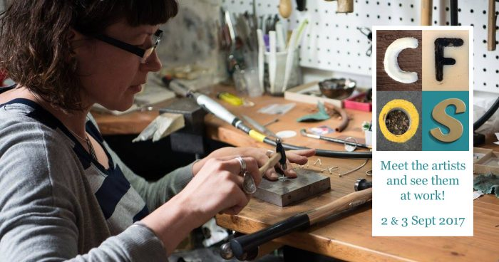 Evie Milo at the bench making lovely jewellery from recycled antique silverware