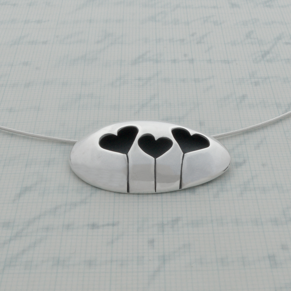 Milomade Jewellery - Enduring Love Collection - Three Heart Necklet