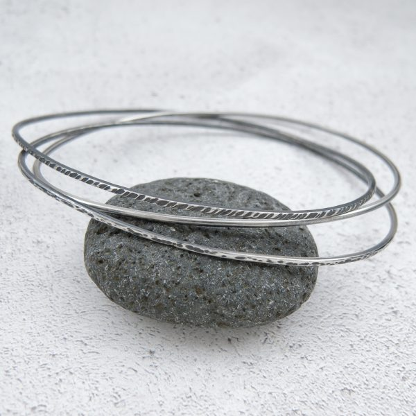 Milomade Jewellery - Echoes Collection - Rockpool Bangle - Handcrafted from Recycled Sterling Silver Teaspoons
