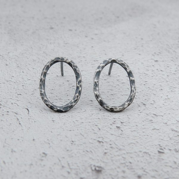 Milomade Jewellery - Echoes Collection - Rockpool Studs I - Handcrafted from Recycled Sterling Silver Teaspoons