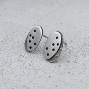 Milomade Jewellery - Echoes Collection - Seashore Studs - Handcrafted from Recycled Sterling Silver Teaspoons