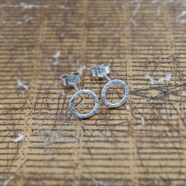 Milomade Jewellery - Little Details Collection - Circle Studs (Rough)