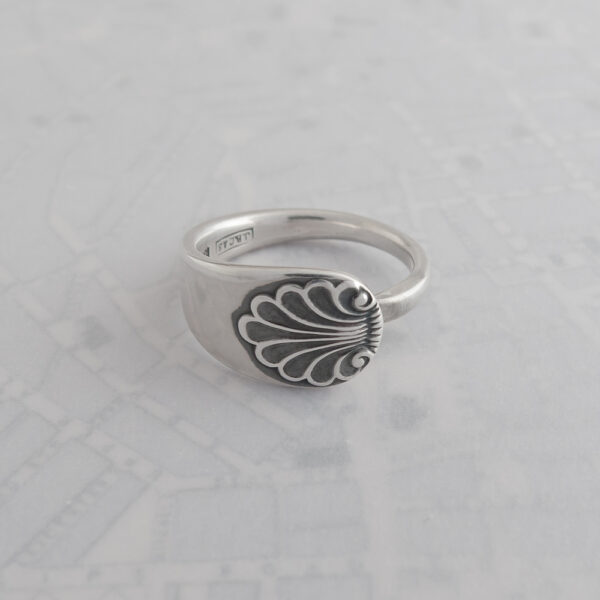 Milomade Antique Silverware Spoon Ring - Made by Evie Milo the #SpoonLady - Anthemion (Plain) - Birmingham 1969