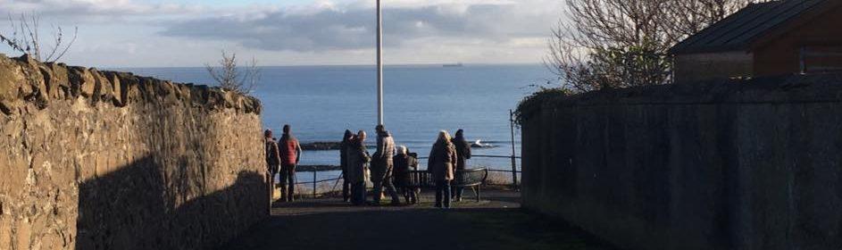 Whale watchers in Kinghorn, Fife