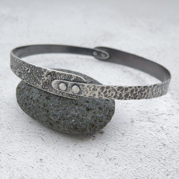 Milomade Jewellery - Echoes Collection - Seashore Bangle - Handcrafted from Recycled Sterling Silver Teaspoons