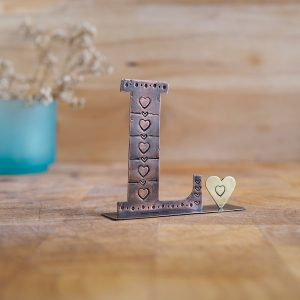 Copper Type - Letter L with a Heart Embellishment