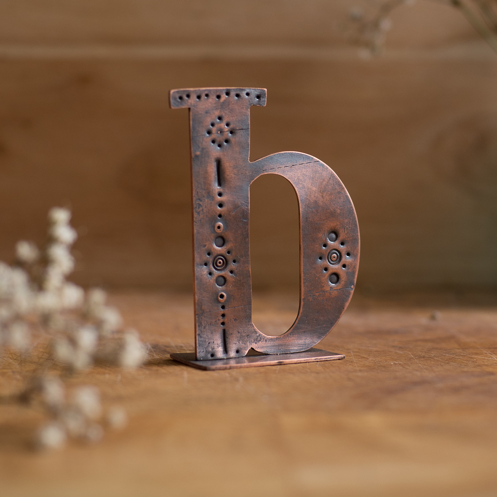 Copper Type - Stand alone letter handcut from recycled copper and decorated with stamped details and patterns - Lowercase B