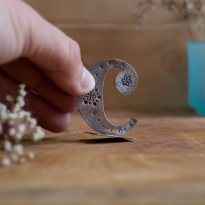 Copper Type - Stand alone letter handcut from recycled copper and decorated with stamped details and patterns - Lowercase C