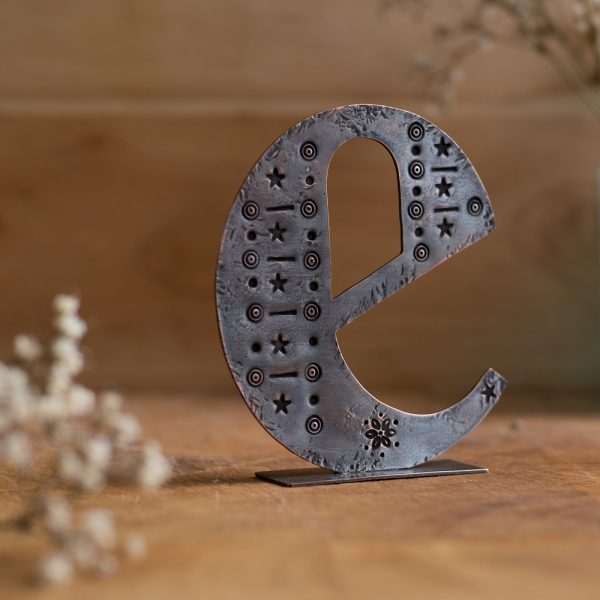 Copper Type - Stand alone letter handcut from recycled copper and decorated with stamped details and patterns - Lowercase E