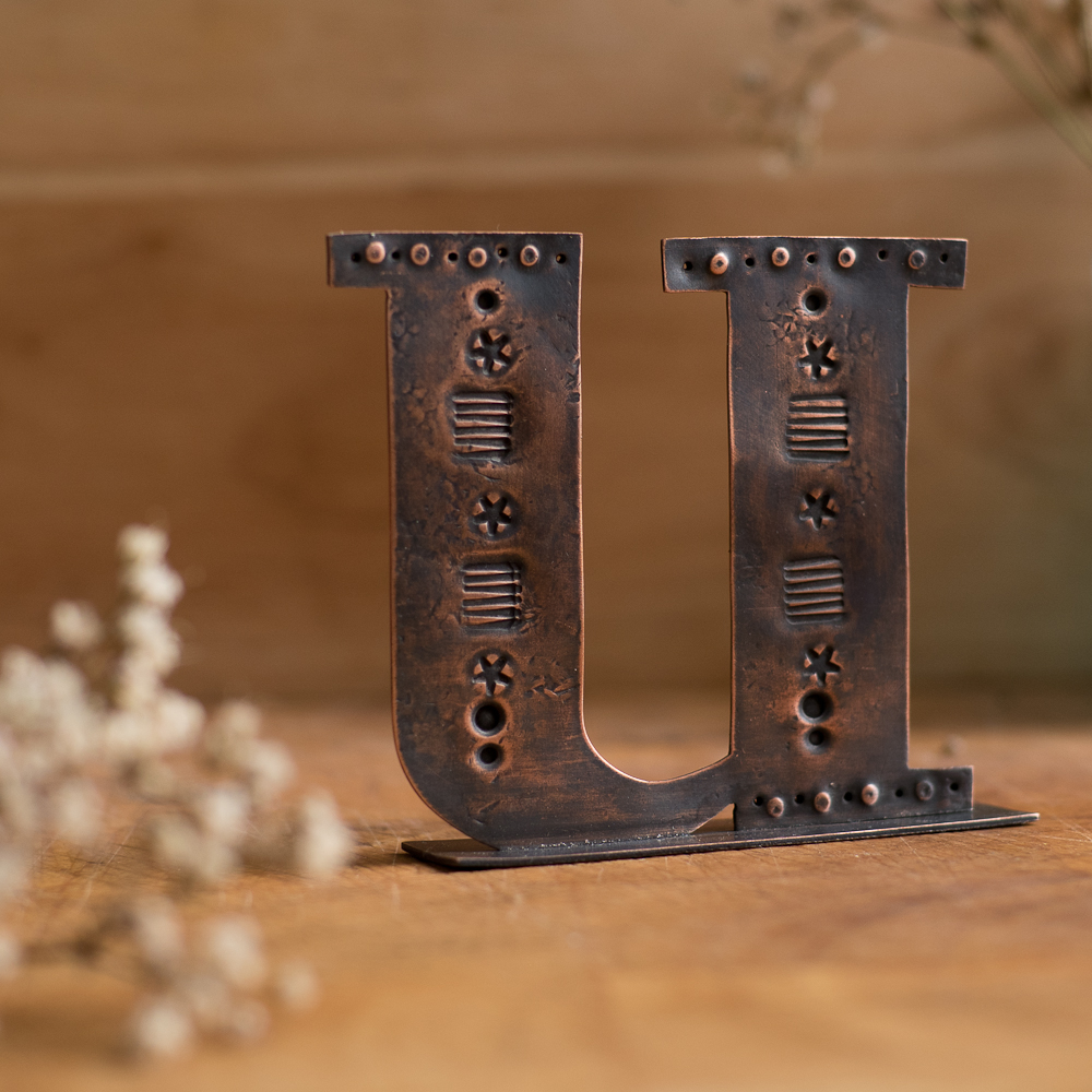 Copper Type - Stand alone letter handcut from recycled copper and decorated with stamped details and patterns - Lowercase U