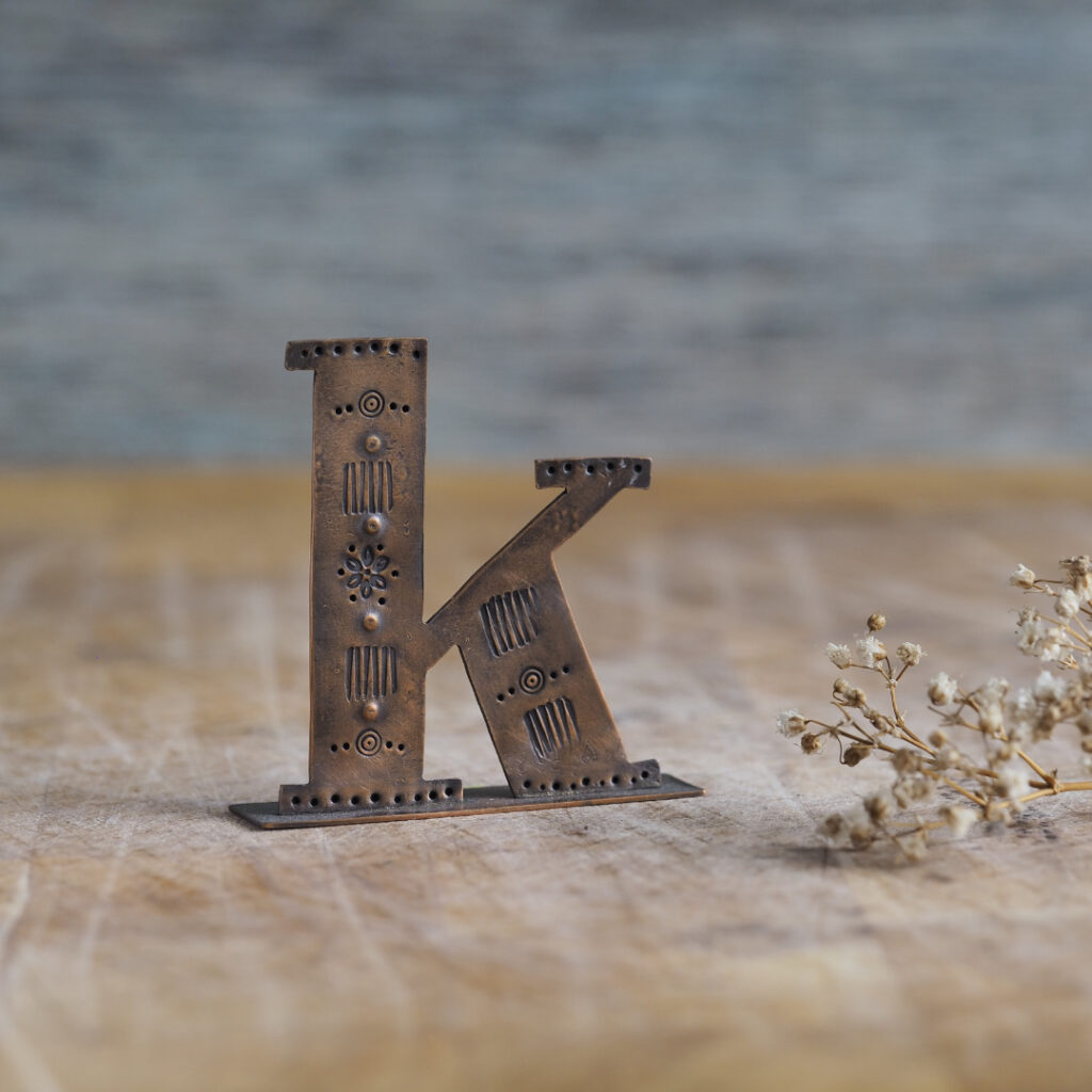 Handcrafted Copper Type - Letter K
