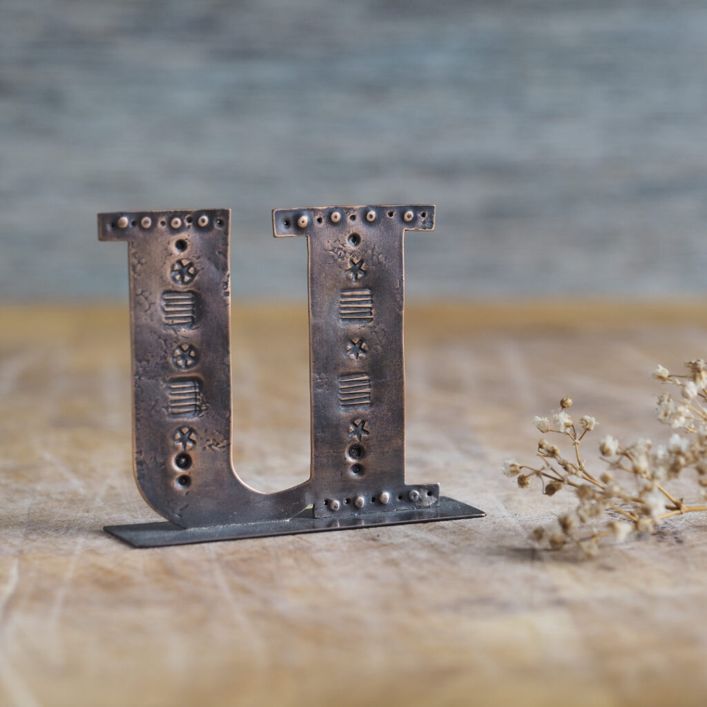 Handcrafted Copper Type - Letter U