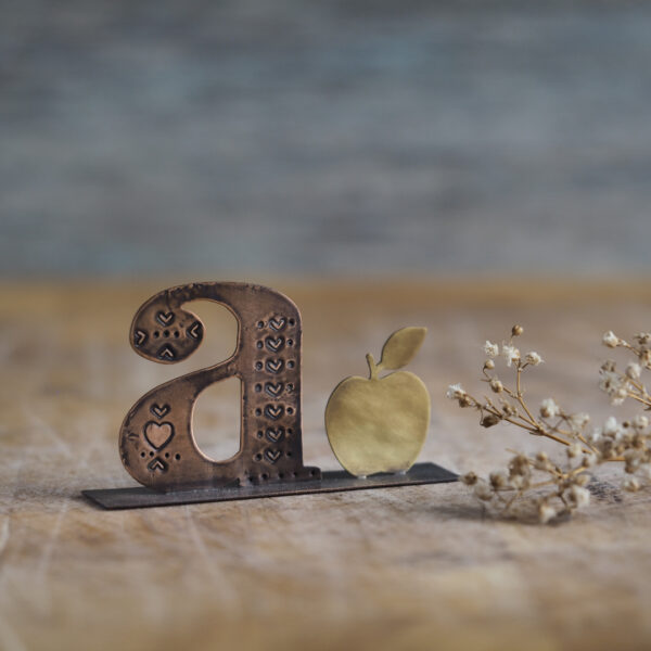 Handcrafted Copper Type - A is for Apple